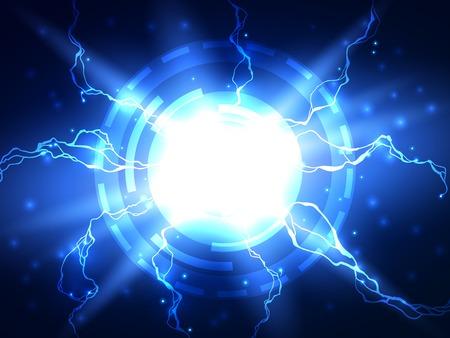 rayo electrico: Rel�mpago azul el�ctrico de fondo la ciencia de vectores de fondo, se puede utilizar para los negocios, presentaci�n de la ciencia m�dica