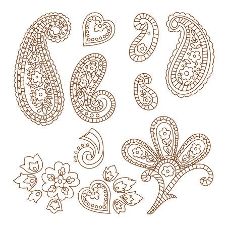 mhendi: Paisley patterns, henna tattoo doodle elements