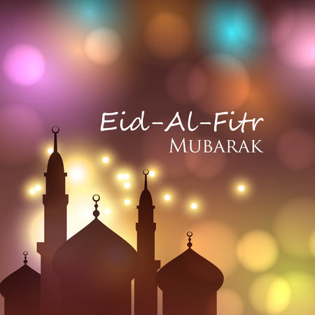 Vector card for Muslim festival Eid Al Fitr Mubarak. Can be used for invitation and greetings Illustration