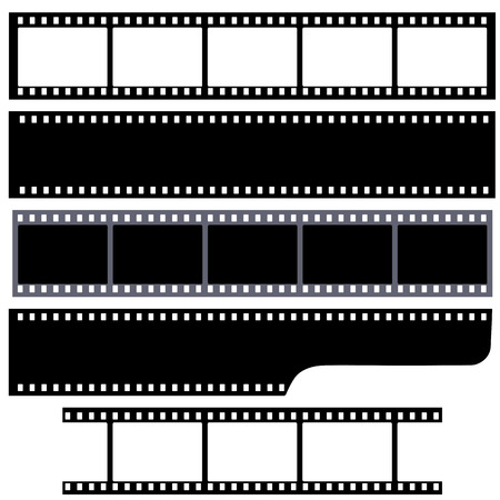 Set of blank simple film strips. Vector illustration