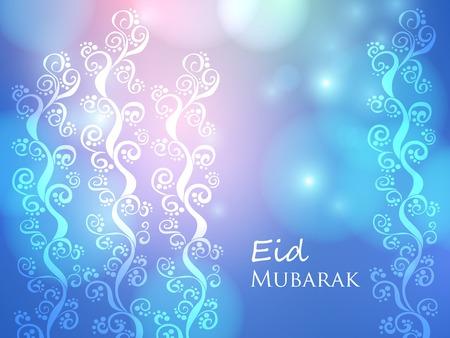 무슬림 축제를위한 벡터 카드 Eid Mubarak. 초대장 및 인사말에 사용할 수 있습니다.