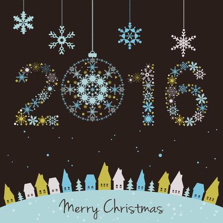 2015 새해. 행복 한 휴일 배경 눈송이, 눈, 집과 전나무. 2015 눈송이의했다.