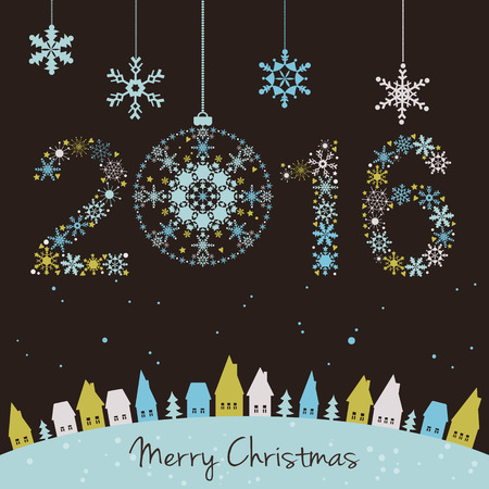2015 New year. Happy holidays background with snowflakes, snow, houses and fir. 2015 made of snowflakes.