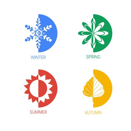 four season: Four season icon set, illustration