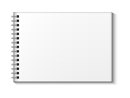 note pad: Sketchbook vector mock up. Blank sketchbook with blank place for text and notes, landscape orientation