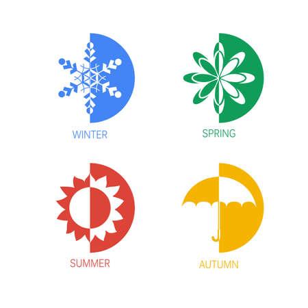 sonnenschirm: Vier-Jahreszeiten Icon-Set, Schneeflocke Blume Sonnenschirm Darstellung Illustration
