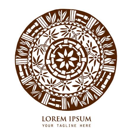 marcos redondos: Vector patrón de bambú ronda ornamental, adornado círculo del cordón mandala. Puede ser utilizado para estudio de yoga, sala de relajación