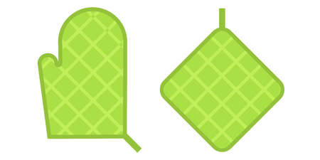 thermal: Pot holder home safety kitchen cooking utensil cotton thermal textile flat vector illustration. Illustration