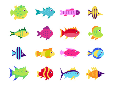 small group of objects: Cute fish vector illustration icons set. Fish flat style vector illustration.
