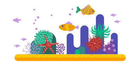 underwater background: Underwater background with various water plant and swimming tropical fish. Underwater background coral garden Illustration