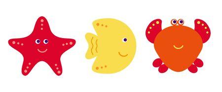 plunging: Cute vector cartoon fish, crab and starfish, vector illustration icons set