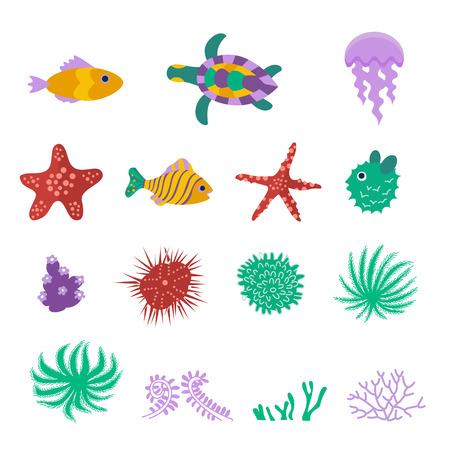 Vector set of sea marine fish, animals, plants.
