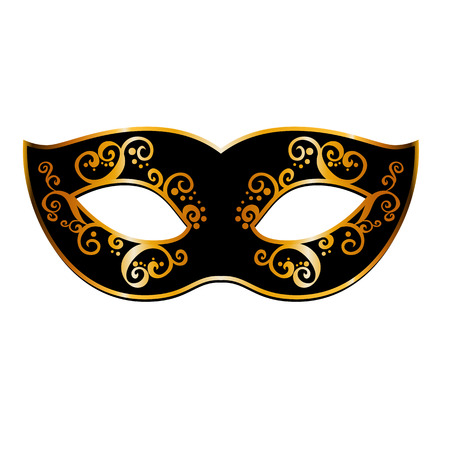 Vector black and gold venetian carnival mardi gras party mask. . Vector illustration