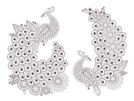 disegni cachemire: Set di splendidi uccelli pavone in stile mehndi indiano. Unico disegnati a mano pavoni Paisley, mehndi illustrazione uccelli vettoriale su sfondo bianco.
