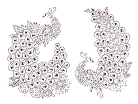Set of beautiful peacock birds in indian mehndi style. Unique hand drawn paisley peacocks,  mehndi birds vector illustration on white background.