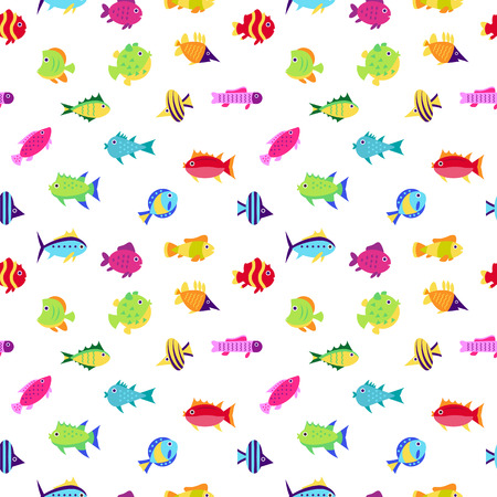 marinelife: Seamless vector  pattern with cute fish, vector illustration. Fish flat pattern vector illustration. Fish seamless vector. Tropical fish, sea fish, aquarium fish seamless pattern on white background. Sea color flat design fish