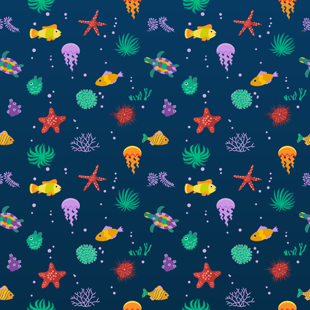 marinelife: Seamless vector  pattern with cute fish, vector illustration. Fish flat pattern vector illustration. Fish seamless vector. Tropical fish, sea marine fish, animals, plants, aquarium fish seamless pattern on white background. Sea color flat design fish. Tur