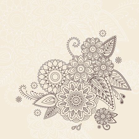mhendi: Beautiful vector floral elements in indian mehndi style. Unique hand drawn paisleys,  mehndi floral abstract  vector illustration on white background. Illustration