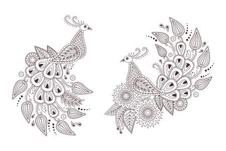 mhendi: Set of beautiful peacock birds in indian paisley style. Unique hand drawn paisley peacocks,  mehndi birds vector illustration on white background. Illustration