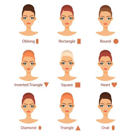 다른 여자의 벡터 설정 유형에 직면 해있다. 여성 얼굴 모양. 머리 문자. 아름다움 얼굴 유형