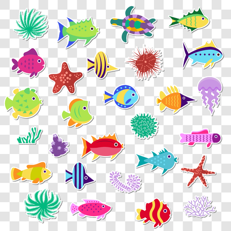 Cute stickers of sea marine fish, animals, plants. Vector set  o