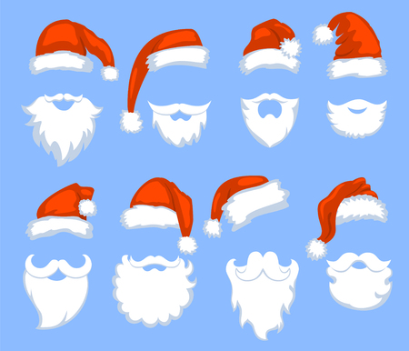 Christmas Santa Claus red hats with white moustaches and beards Vectores