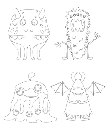 Childrens coloring page with funny cartoon monsters