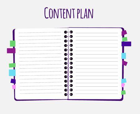 Content plan flat vector illustration Ilustração