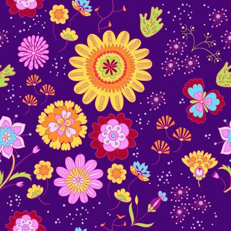 A Vector floral summer pattern in doodle graphyc style Ilustração