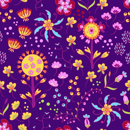 Vector floral summer pattern in doodle graphic style Ilustrace