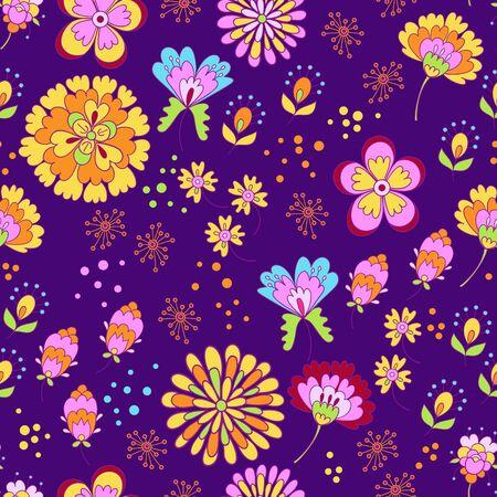 Vector floral summer pattern in doodle graphyc style Ilustração