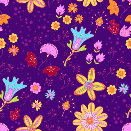 Vector floral summer pattern in graphyc style Ilustrace