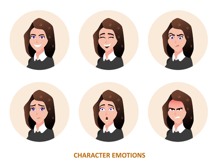Character avatars emotions in circle vector illustration