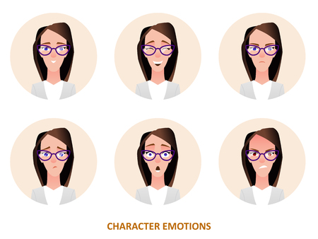 Character avatars emotions in circle in cartoon style. Vector icon illustration Illustration