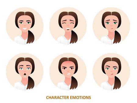 원형 프레임에서 캐릭터 아바타 감정입니다.