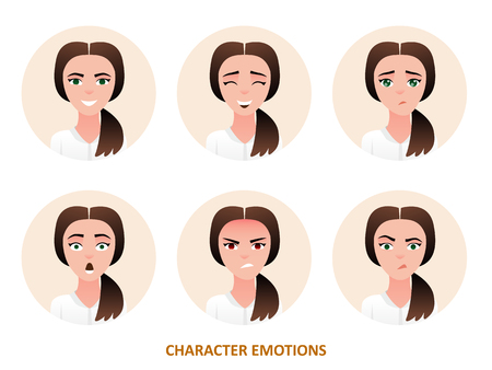 Character avatars emotions in circle frame. Ilustrace