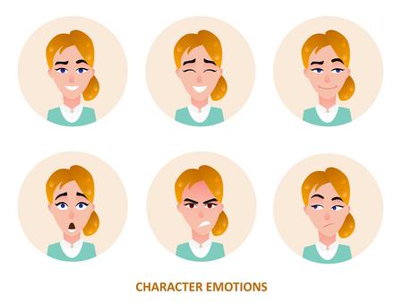 일반 배경에 고립 원에서 캐릭터 아바타 감정