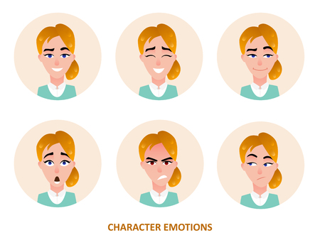 Character avatars emotions in circle isolated on plain background