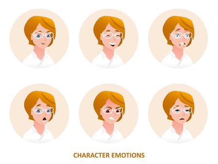 caractère avatars émotions dans cercle isolé sur fond uni