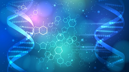 Blue DNA vector patterned background