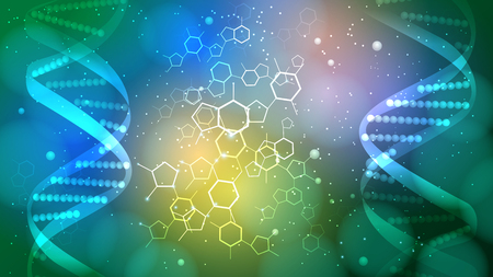 DNA vector medical green background, can be used for business, medical, science  presentation. In green color