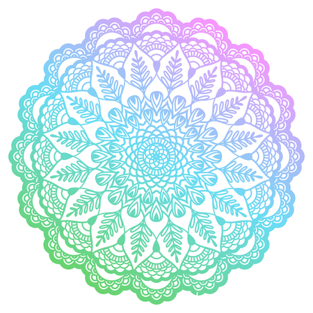 Round gradient mandala with floral patterns illustration. Ilustrace