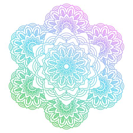 꽃 패턴 라운드 그라데이션 만다라