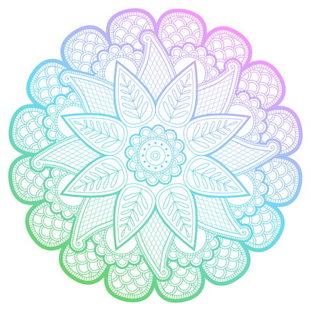 Round gradient mandala with floral patterns
