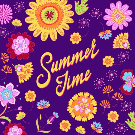 Summer time lettering vector on floral background illustration. Ilustrace