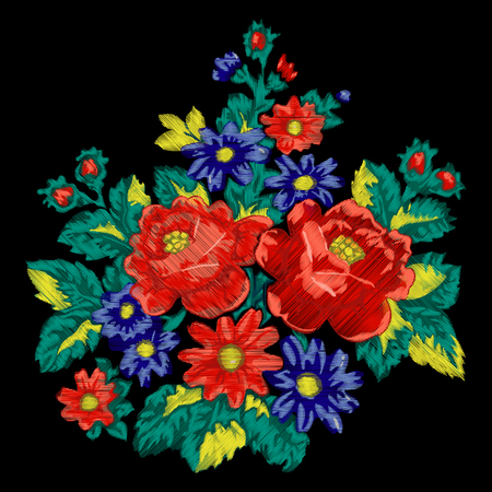 Floral embroidery fashion ethnic vector bouquet