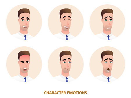Character avatars emotions in circle in cartoon style. Vector icon  illustration