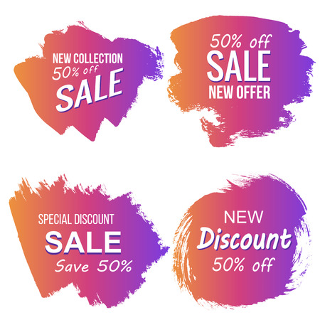 Vector grunge colorful discount and sale labels