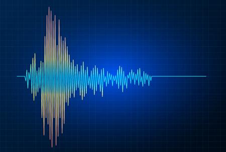 Graphique d'onde de fréquence vectorielle de tremblement de terre, activité sismique