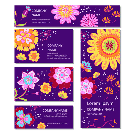 Business or invitation vector cards templates in cartoon style Ilustrace